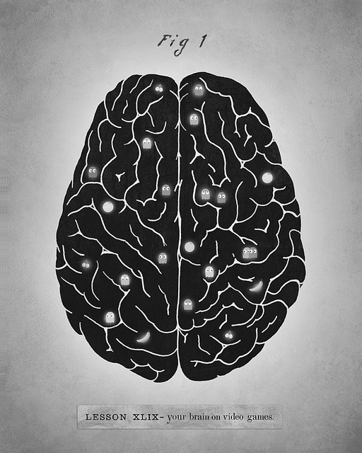 Your Brain On Video Games /by Terry Fan #video #game #geek #illustration: Brain Injury, Android, Pac Man, Pacman, Terry Fans, Videos Games, Funny Stuff, Video Games, The Brain