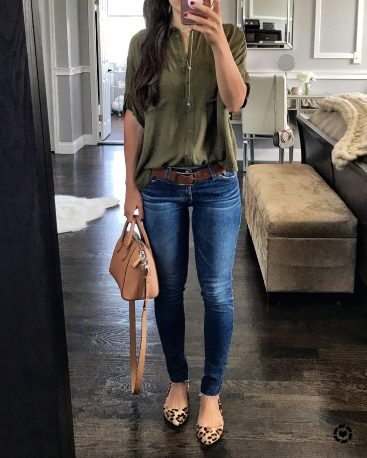 IG: @mrscasual | Olive top, skinny jeans, & leopard flats