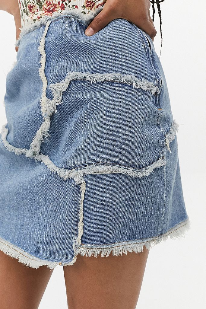 80sSkirtPatchwork Denim Skirt Size 10High Waist