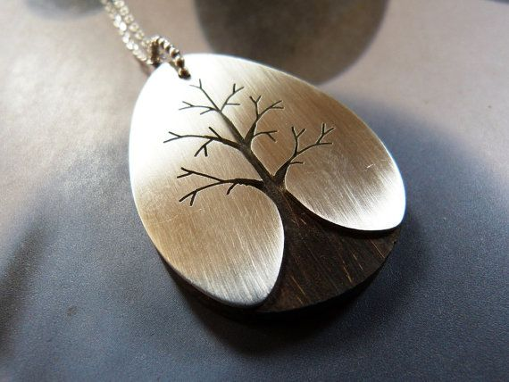 Wooden Sterling tree pendant handcrafted necklace handmade