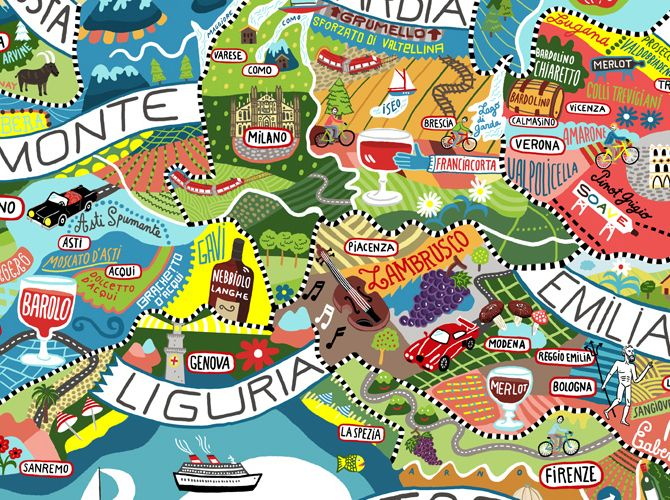 Bellissimi regionali Italian Food and Wine Mappa Dipinti