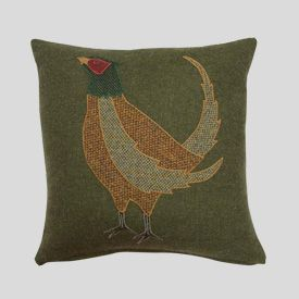 Tweed pheasant cushion - love the colours and textures.