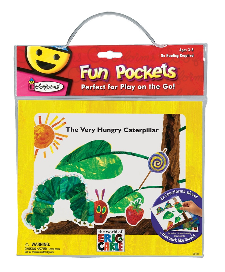 The Very Hungry Caterpillar Fun Pocket® by University Games- This travel-friendly play set includes plenty of Colorforms® Stick-Ons™ and two play boards, each with a different scene. Reusable easy-carry storage pouch included.
