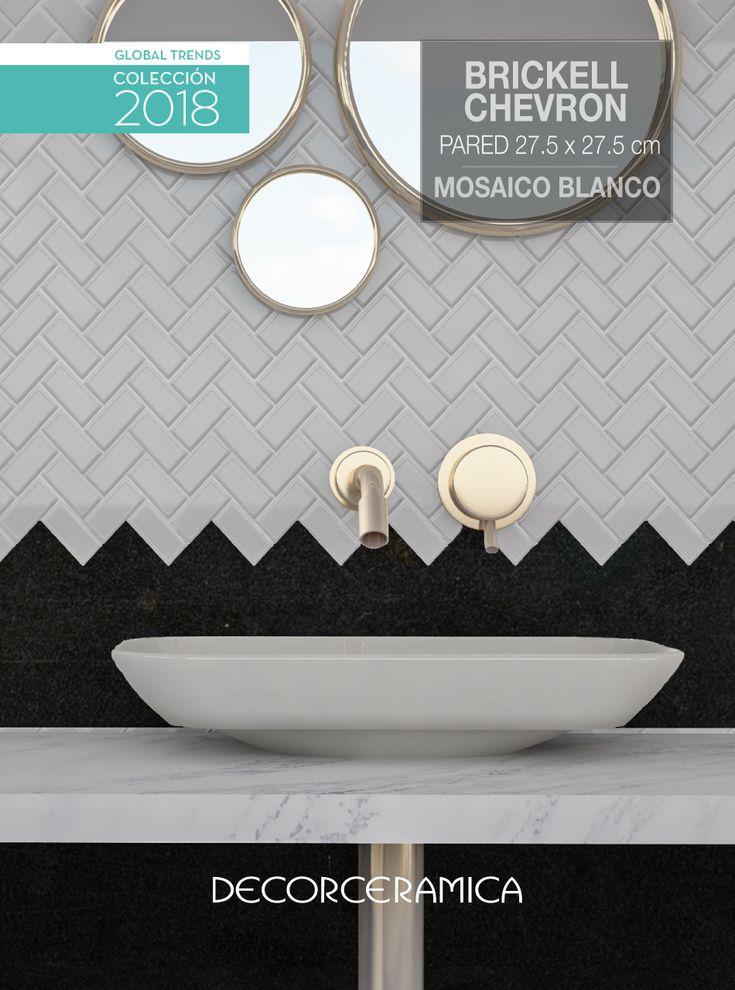 Si aún piensas en pintar tus paredes es porque no conoces una de las opciones TOP 10 de la temporada Primavera-Verano: el nuevo mosaico estilo BRICK-CHEVRON. Su diseño urbano es decorativo y muy fácil de limpiar. Disponible en colores blanco y gris.   #Globaltrends #Mosaico #Pared #Decorceramica