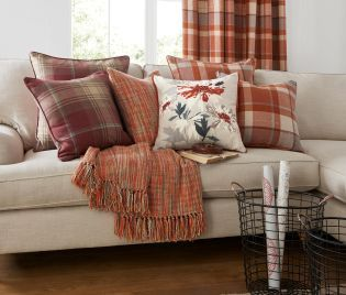 Buy Ginger Rustic Woven Check Cushion from the Next UK online shop