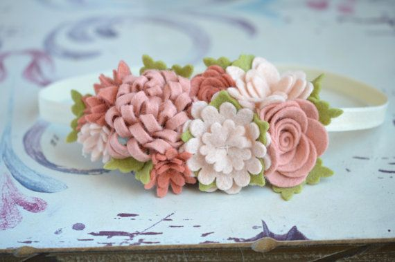 Felt Flower Garland Headband In Neutrals with Blush and by bloomz