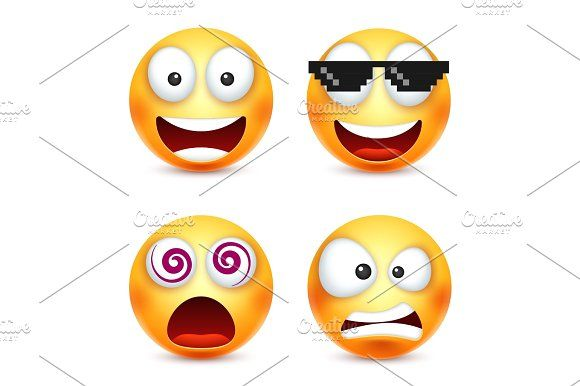 Smiley with pixel glasses,smiling emoticon. Yellow face with emotions. Facial expression. 3d realistic emoji. Funny cartoon character.Mood. Web icon. Vector illustration. Graphics Smiley with pixel glasses,smiling emoticon. Yellow face with emotions. Facial expression. 3d realist by 32pixels