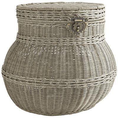 Collin Gray Wicker Round Storage Basket Storage Baskets