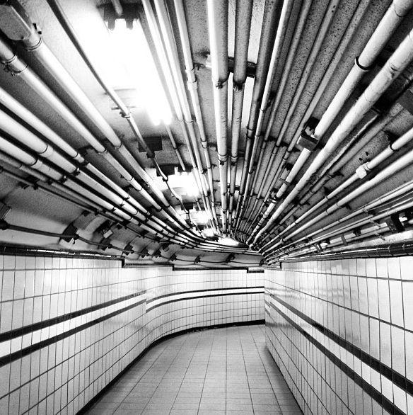 NYC subway black and white