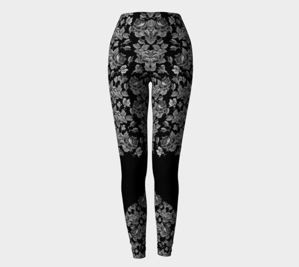 black printed leggings with roses