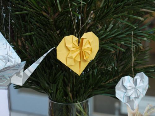 Hearts and cranes for tree decor at the Etsy Made Local fair.  Luxury handmade paper decor by Paper Street Dolls  Check out our store - paperstreetdolls.etsy.com