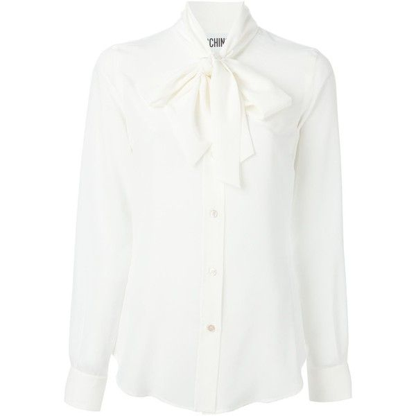 Moschino pussybow blouse featuring polyvore, fashion, clothing, tops, blouses, shirts, white, white silk shirt, longsleeve shirt, silk blouses, white long sleeve top and long sleeve shirts