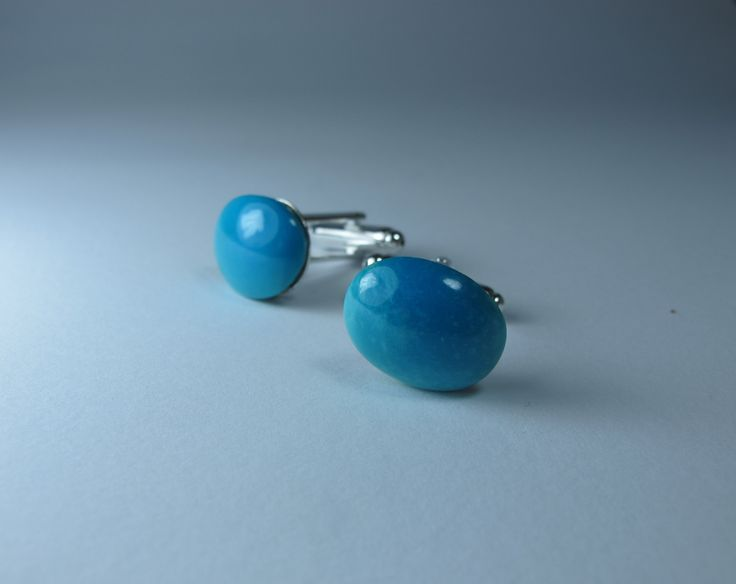 Cufflinks with Persian Turquoise. Nickel free steel support