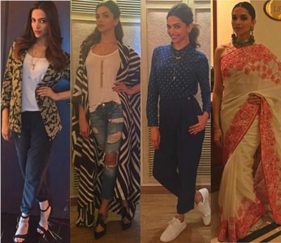 Deepika Padukone has got to be one of the most graceful and beautiful heroines in Bollywood. Deepika is able to make even a normal sweatshirt and jeans look glamorous. Check out the amazing stuff she wore for her latest flick, Tamasha's promotions! Which one do you like the best? itimes.com