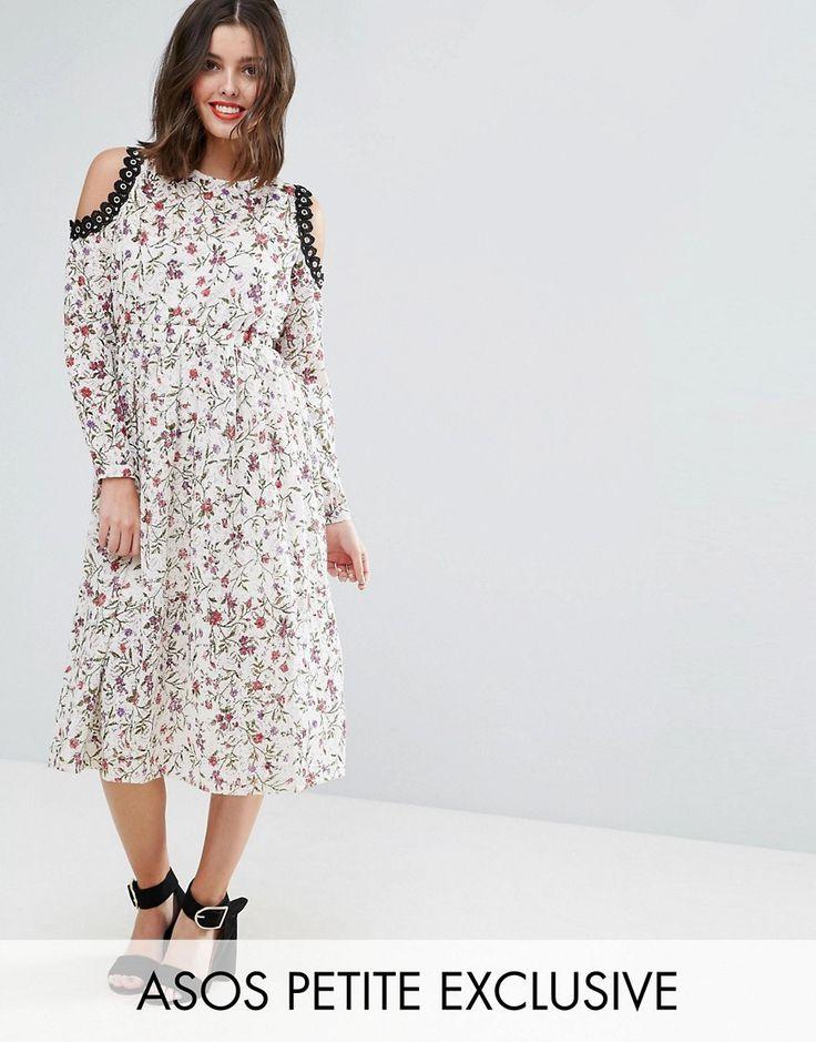 ASOS PETITE Printed Lace Midi Dress with Cold Shoulder and Metal Trim