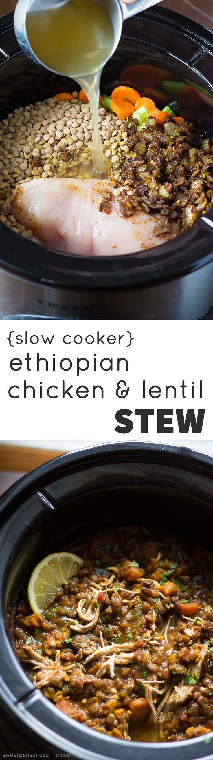 Slow Cooker Chicken & Lentil Ethiopian Stew, made with sweet potatoes and carrots. Great Recipe!