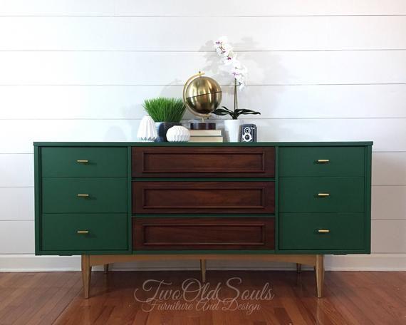 CUSTOMIZABLE Mid Century Modern Dresser, Emerald Painted Lowboy, Green Media Console, Shamrock Baby Credenza, Jade Buffet