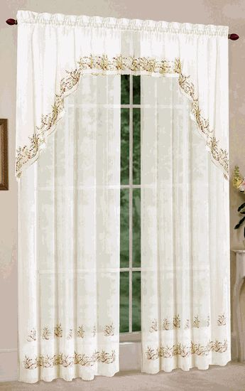 Heather sheer curtains are a beautiful ivory sheer delicately embroidered with flowers & leaves. #Embroidered #Curtains