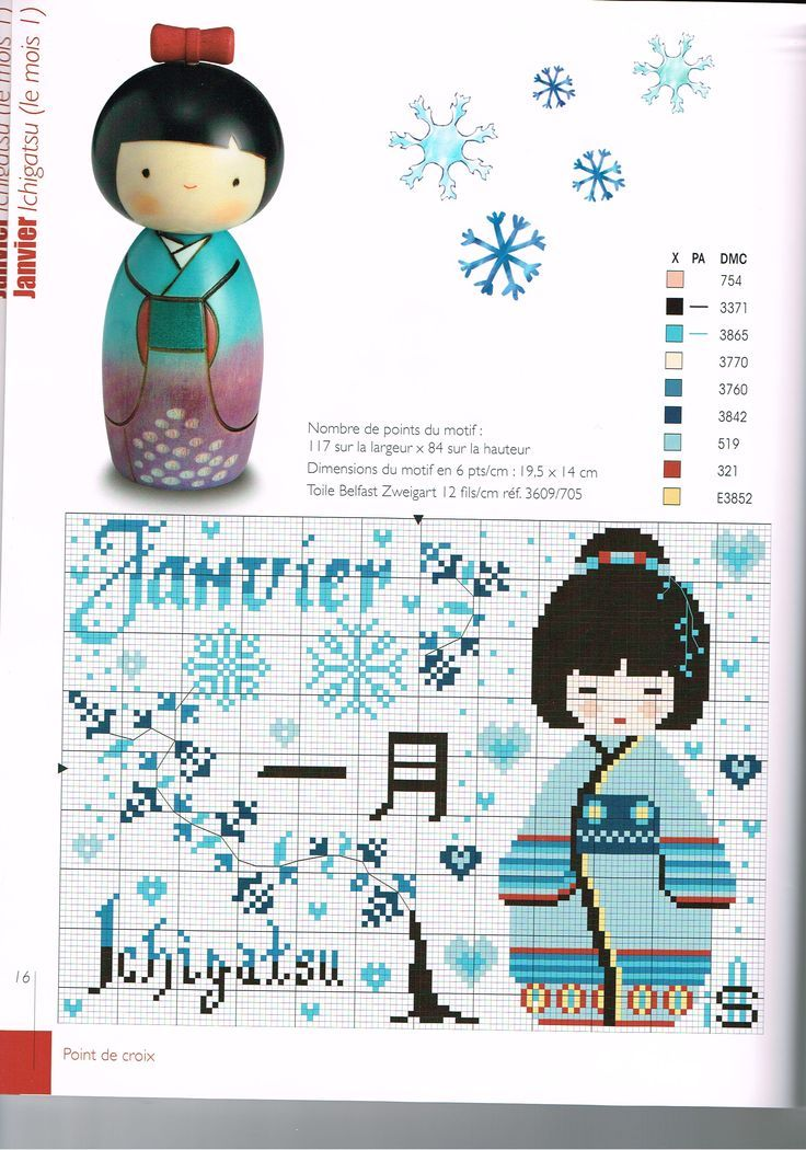 0 point de croix fille geisha bleu janvier  - cross stitch blue little geisha january