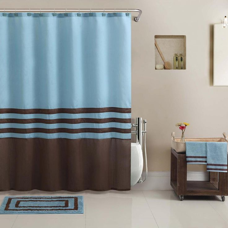 Pics On The Hotel Collection brown and blue striped bathroom set includes perfectly coordinating towels shower curtain