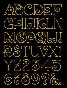 Schrift, Typografie, elegante Buchstaben mit Schnörkeln Handlettering
