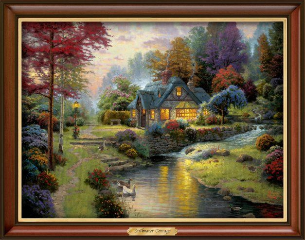 Thomas kinkade stillwater cottage canvas print wall decor - Home interiors thomas kinkade prints ...