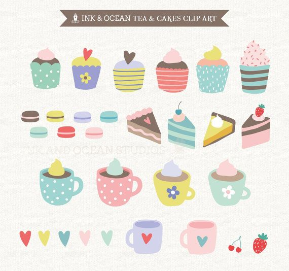 Digital clip art, cute vintage tea and cake, macaroons,  invitations, card making, scrapbooking , Instant Download