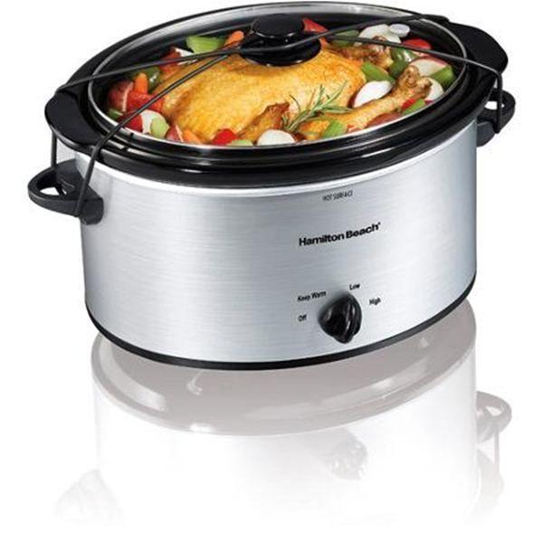 Hamilton Beach 5-Quart Portable Slow Cooker Silver Crockpot Manual New #Notspecified
