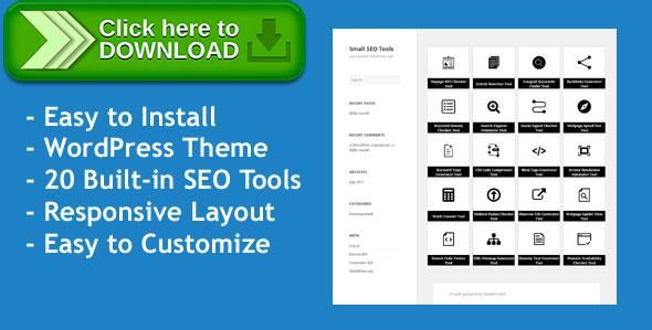 [ThemeForest]Free nulled download Small SEO Tools - WordPress Theme with 20 built-in SEO Tools from http://zippyfile.download/f.php?id=53906 Tags: ecommerce, domain tools, keyword research, php script, search engine optimization tools, seo, seo tools, webmaster tools, website analysis, wordpress template