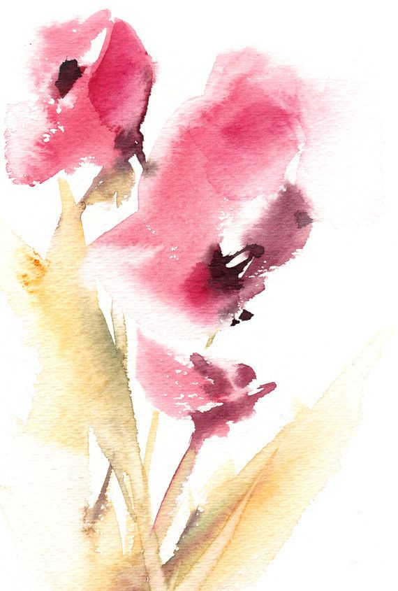Abstract Florals #Watercolor Painting Original Watercolor Painting Modern #Watercolour Art  Color theme: pink, green  One of A Kind #Art Work  Size: 7.5x11'' (19x28 cm)  Mediu... #art #etsy #trending #daily #sale #watercolor #watercolour #floral #aquarelle