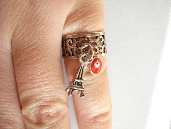 Silver charm ring Filigree charm ring Midi rings Eifel by Poppyg
