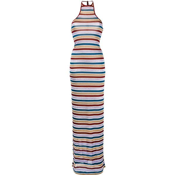 Dsquared2 metallic stripe maxi dress ($565) ❤ liked on Polyvore featuring dresses, grey, stripe dress, gray dress, metallic dress, halter-neck maxi dresses and metallic maxi dress