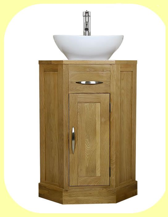 Photo On corner vanity Oak corner bathroom vanity unit small cloakroom sink vanities ebay