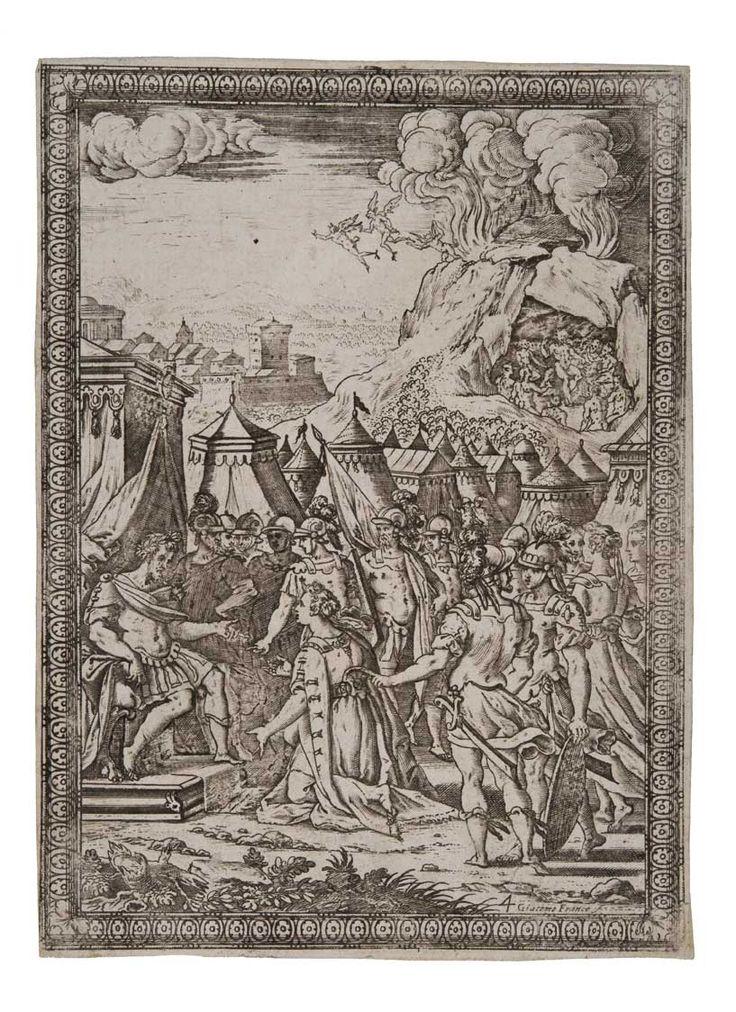 Stampa, Armida al campo parla a Goffredo di Buglione, acquaforte, bulino, 1590 / Print, In the camp Armida talks to Godfrey of Bouillon, etching, engraving, 1590, Gorizia, Palazzo Coronini Cronberg, inv. 3957/4