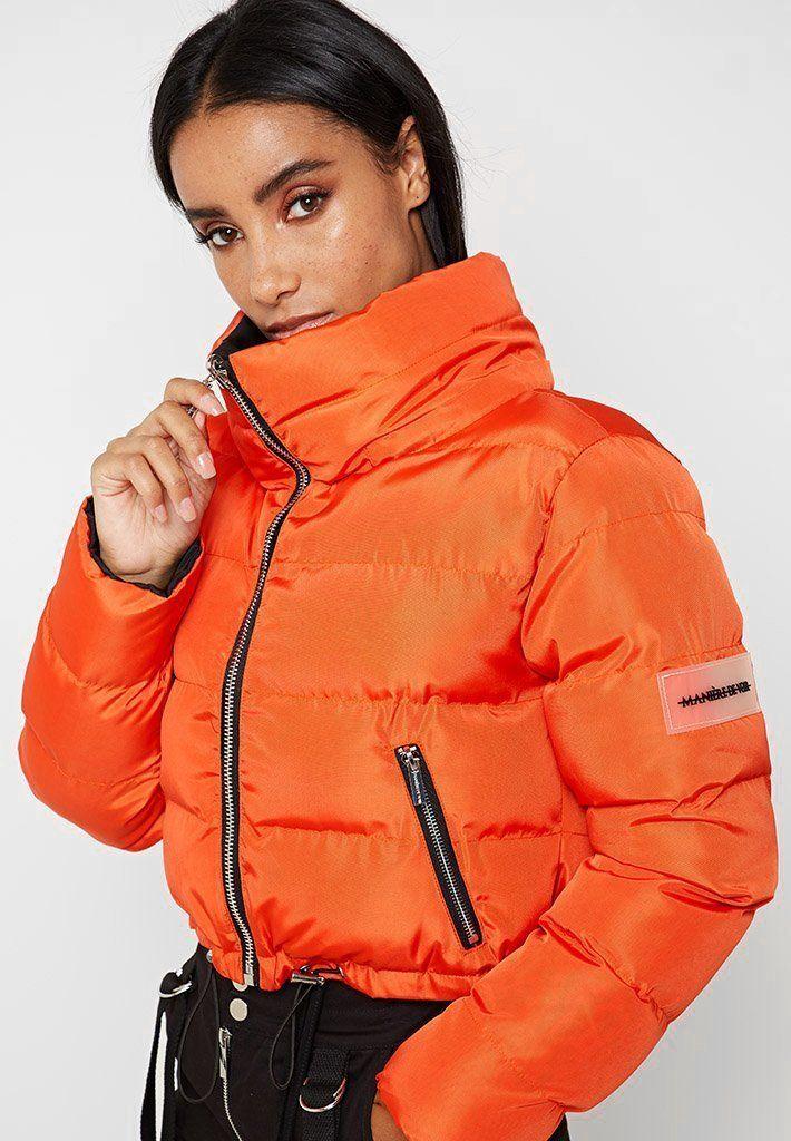 Reversible Cropped Puffer Jacket Orange Black Maniere De Voir Puffer Jacket Women Coats Jackets Women Winter Coats Women