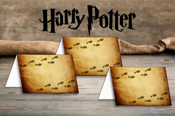 $4.50 Harry Potter Foldable Card, Harry Potter Place Cards, Harry Potter Birthday Party, Harry Potter Party Sign - Personalized Printable Cards by PartyJoyDecor on Etsy
