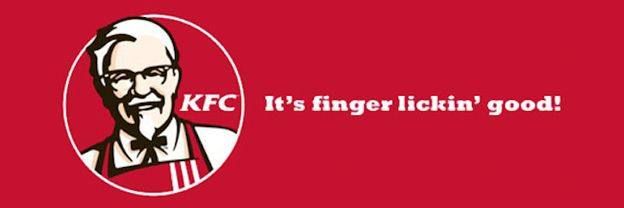 "KFC often uses its slogan ""Finger lickin' good!"" in its advertisements as the slogan is very well-known that the slogan will remind people of the fast food chain, KFC. The slogan is so well-known that people will know that it is KFC or a product KFC is pushing out."
