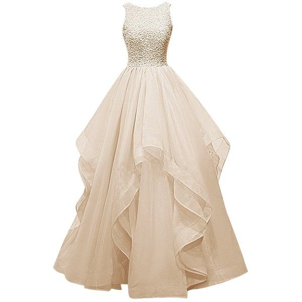 Dresstells? Long Prom Dress Asymmetric Bridesmaid Dress Beaded Organza... ($135) ❤ liked on Polyvore featuring dresses, gowns, long black gown, black gown, long gowns, black ball gown and prom dresses