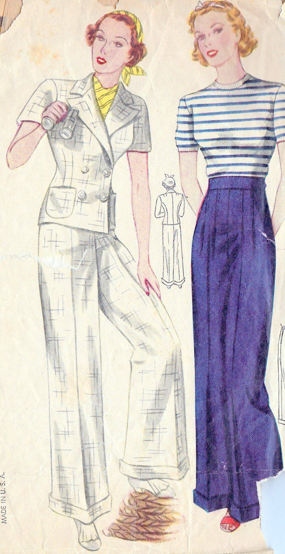 1930s Misses Slacks and Jacket Sewing Pattern     I love the design of these pants.....still fashion forward today