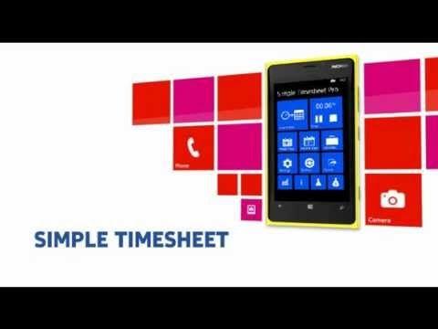 Simple Timesheet Windows Phone App promotion video: http://www.windowsphone.com/s?appid=3c12c70f-6a06-40f8-9d8c-c19c6f02899b