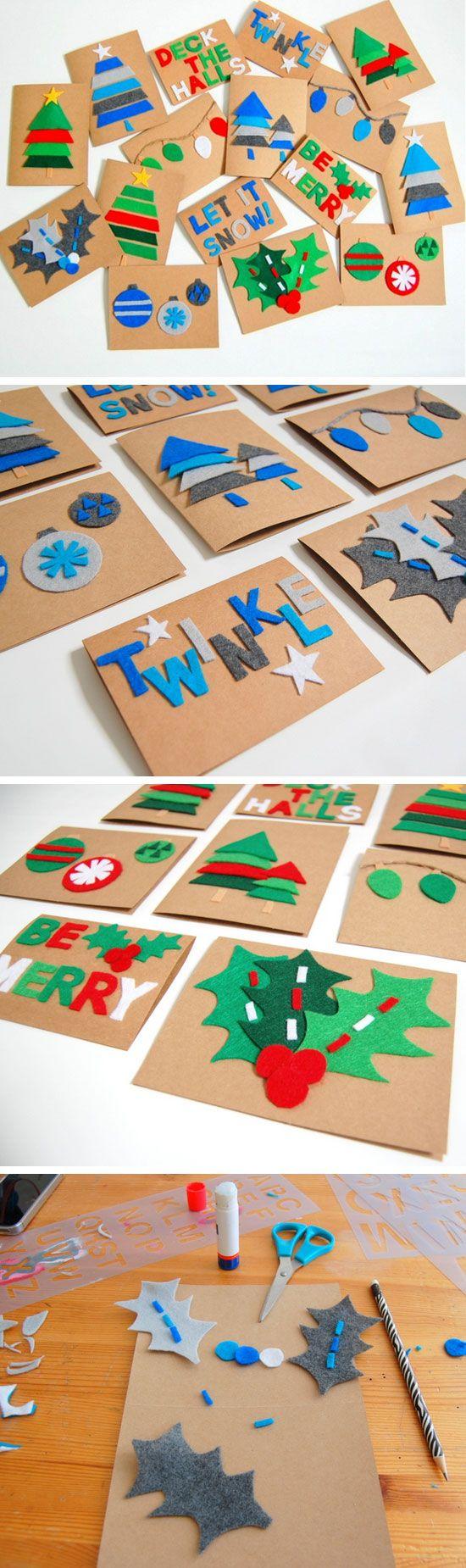 DIY Felt Christmas Cards | Click for 20 DIY Christmas Card Ideas for Families…