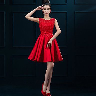 Cocktail+Party+Dress+A-line+Jewel+Short+/+Mini+Lace+/+Satin+with+Lace+–+USD+$+69.99