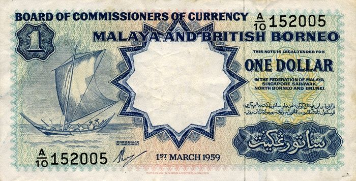 This blue dollar note shows a sailing boat and the State emblems of the Federation State of Malaya, Sabah, Sarawak, Brunei and Singapore.  All 1, 5 and 10 dollars were printed by Waterlow and Sons. Waterlow and Sons Ltd was established in 1810 and become one of UK's largest printers of stamps and bank notes as well as more general printing.