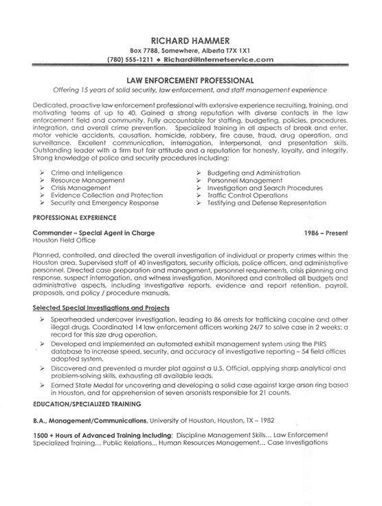 21 best Business images on Pinterest Cover letter example, Cover - police resume