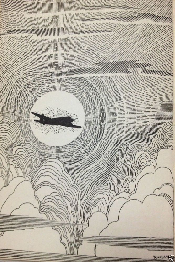 Don Blanding 1943 ART DECO Print AIRPLANE in Clouds  Gods-Eye View