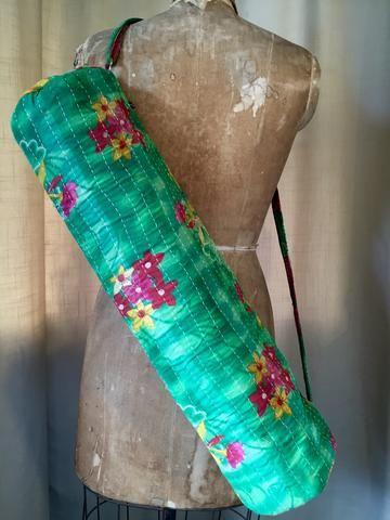 Yoga Bag - Vintage Cotton kantha - Hawaii five oooh! $25 shop at www.summerhousenz.co.nz