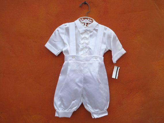 Vintage Baby Boy S Baptism Christening White Suspender