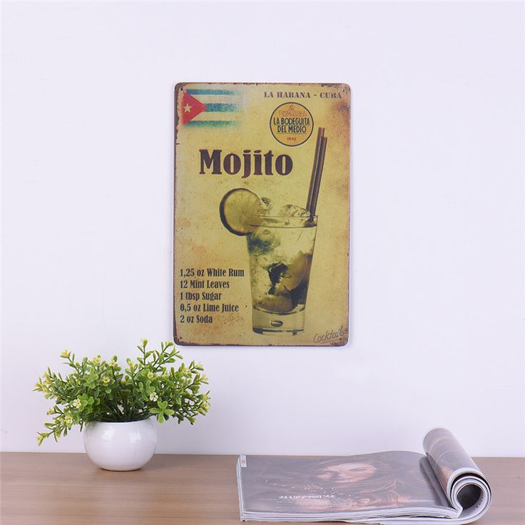 Retro Metal Painting Antique Poster Bar Pub Signs Mojito Cocktail Wine Vintage Craft Tin Sign Wall Art sticker Home Decoration