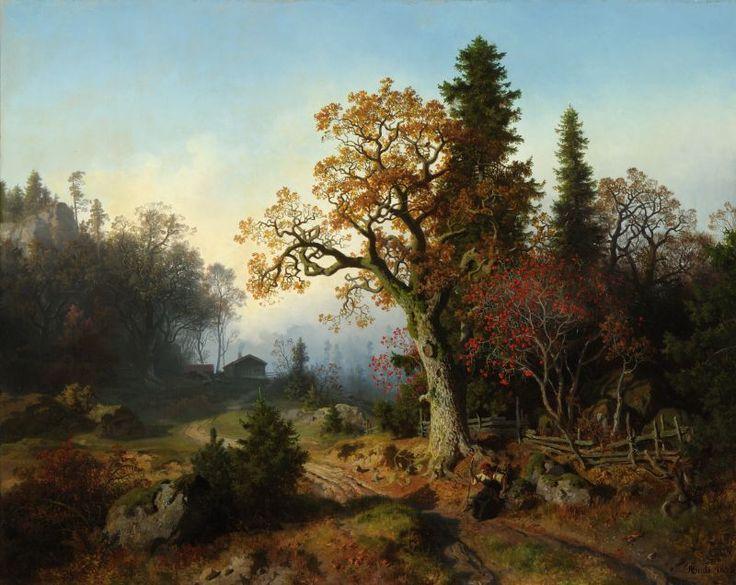 Hans Gude (1825-1903): Skoglandskap, 1855