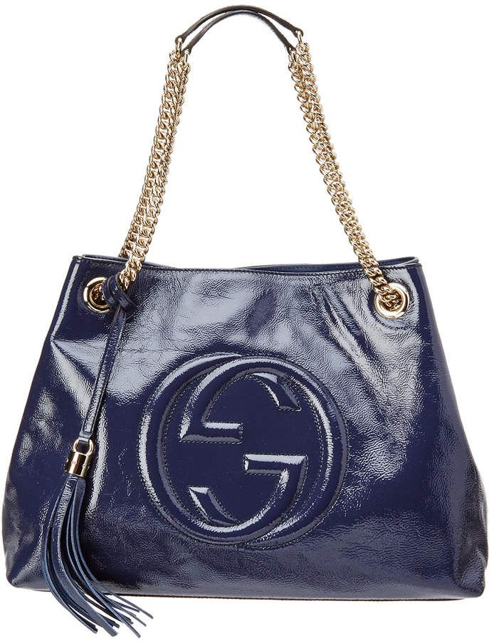 e813337244409 Gucci Navy Leather Soho Chain Tote   Bags   Pinterest   Soho, Gucci and  Chains
